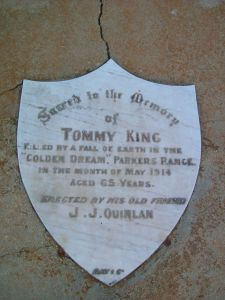 KING Tommy Killed Parkers Range 5 May 1914 age 65