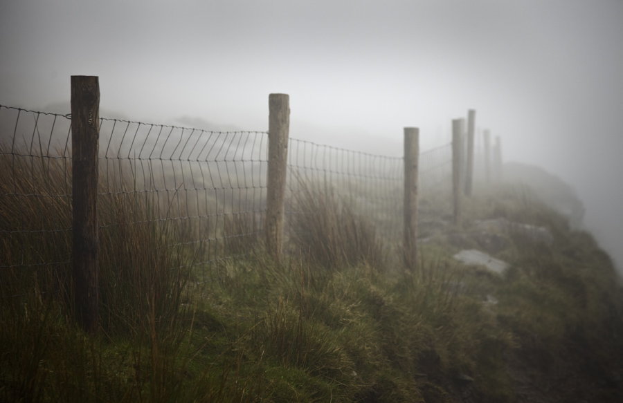 Fence in Mist, Connor Pass, County Kerry, Ireland