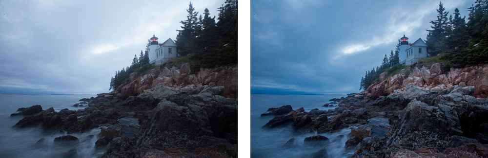 Before and after pictures showing a quick Lightroom fix of dynamic range problems.