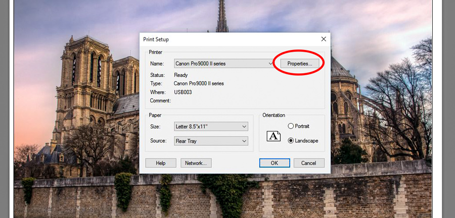 Page Setup Dialog Box in Lightroom Print Module
