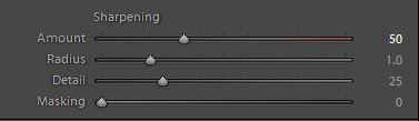 Input Sharpening controls