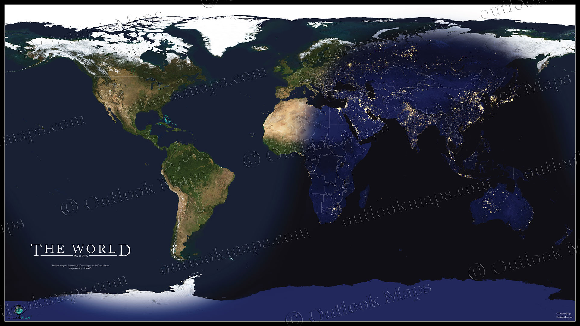 World Satellite Map Showing Daylight and Darkness World Satellite Wall Map Day vs  Night