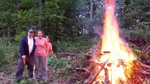 David And Brenda At The Bonfire Christening The New Seasonal Site. Photo bombed By Lynn!