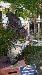 Bronze Statue In A Park In Breckenridge, Colorado