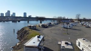 View Of The RV Park From The Pedestrian Bridge