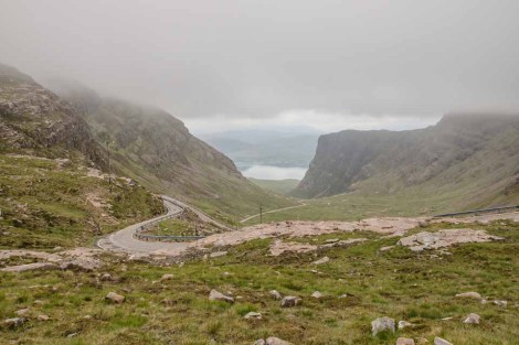 The climb up Bealach na Bá looking back towards Loch Kishorn