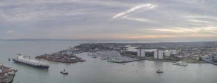 Panoramic view of Gosort, The Solent and in the distance, the Isle of Wight