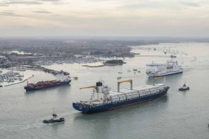 Busy Portsmouth Harbour from the Spinnaker Tower looking towards Gosport and onwards to Fareham