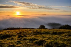 The sun just showing over the mist and fog in the Meon Valley, Hampshire giving stunning Meon Views