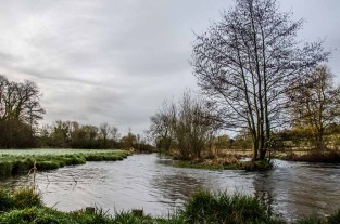 The River Meon at Droxford in the Meon Valley. A cold and dull start to the day.