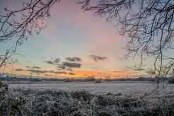 Pre sunrise scene across Titchfield Haven National Nature Reserve on the coldest morning of winter