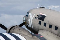 "D Day 75 Daedalus. Douglas Dakota ""Drag 'em Oot"" at Solent Airport Daedalus to mark the 75 anniversary of the D-Day landings by allied forces in Normandy 1944"