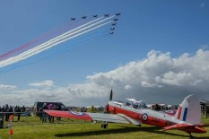 D Day 75 Daedalus. The Red Arrows fly past at Solent Airport Daedalus to mark the 75 anniversary of the D-Day landings by allied forces in Normandy 1944