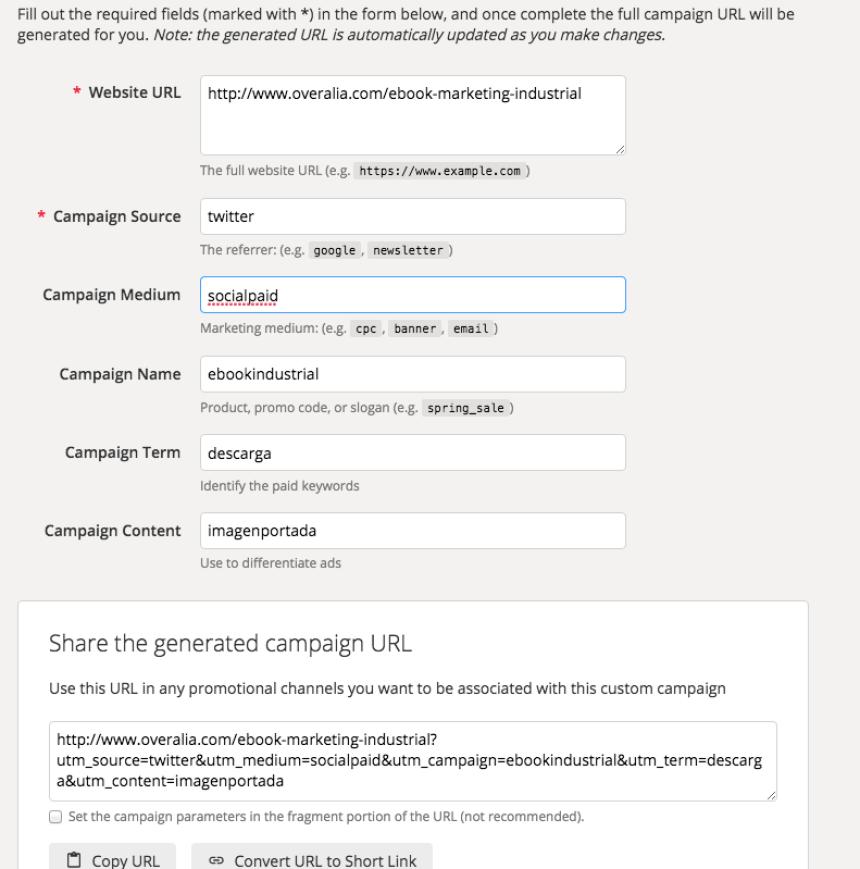 Un ejemplo de URL para un campaña de lanzamiento de un ebook sobre marketing industrial, a través de DMs en Twitter.