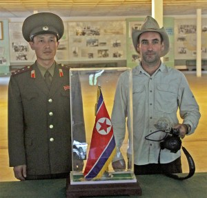 Mark Shea filming in North Korea
