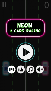 Neon 2 Cars Racing Saga start screen. Image used with developer's permission.