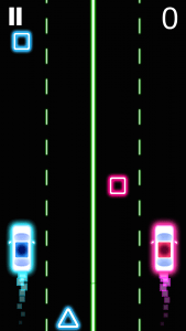 Neon 2 Cars Racing Saga. Avoid the squares by tapping to move to the other lane. Image used with developer's permission.