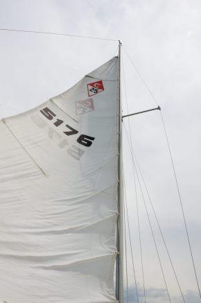 Photograph of the reefed main sail of the sail boat Cornucopia, on Stockton Lake in the Missouri Ozarks