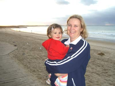 ET and Mommy at Noosa Beach