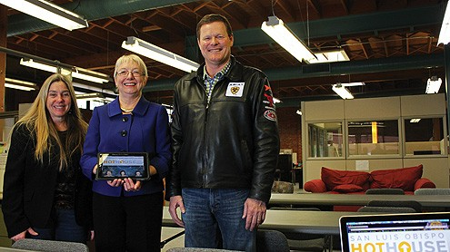 From left: Thea Chase, director of the San Luis Obispo HotHouse, Jo Anne Miller of SLO Seed Ventures, and Clint Pearce, chairman of the HotHouse Community Advisory Board. The startup incubator recently opened on Morro Street in downtown San Luis Obispo. (Alex Kacik photo)