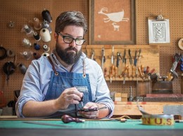 Steven Soria, a third-generation leather craftsman in Santa Barbara, launched Make Smith last year. The business makes purses, wallets, belts and home goods such as coasters and pot handles at a small shop on De La Guerra Street. (Nik Blaskovich / Business Times photo)