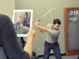 Edufii Chief Revenue Officer Andrew DeMille demonstrates a golf swing recorded with the San Luis Obispo-based company's online sports training platform, which recently raised $1.4 million from investors. (courtesy photo)