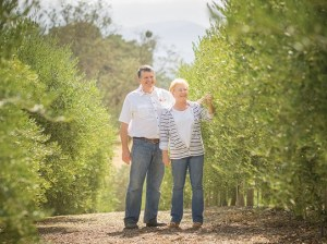 Yves and Clotilde Julien, owners of Olea Farm, where they grow and process olives to be sold in their tasting room. (Nik Blaskovich / Business Times photo)