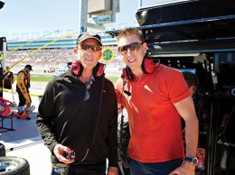 John Belsher, left, and Ryan Petetit are developers on a fast track. The photo was taken at a NASCAR speedway in Las Vegas. (Courtesy photo)