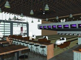 An interior rendering shows bowling lanes on the ground floor and mezzanine levels.