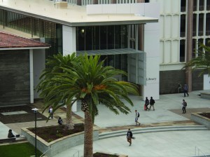 The newly renovated library at UC Santa Barbara serves as a focal point on campus.
