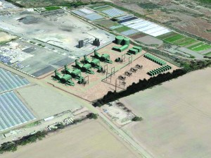 This artist's rendering shows an aerial view of the proposed power plant in Santa Paula.