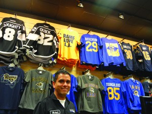 Michael Felix, a manager at Pro Image Sports in Ventura, expects Rams merchandise to be his third best seller after the Cowboys and Raiders — as long as they win.