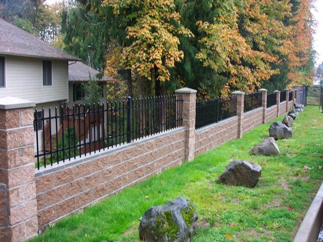 Ornamental decorative metal wrought iron fence for Brick and wrought iron fence designs
