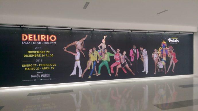Poster at Palmira airport advertising a salsa circus