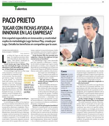Paco Prieto. Consultor Certificado en Lego Serious Play