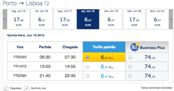 Voos low cost entre Lisboa e Porto