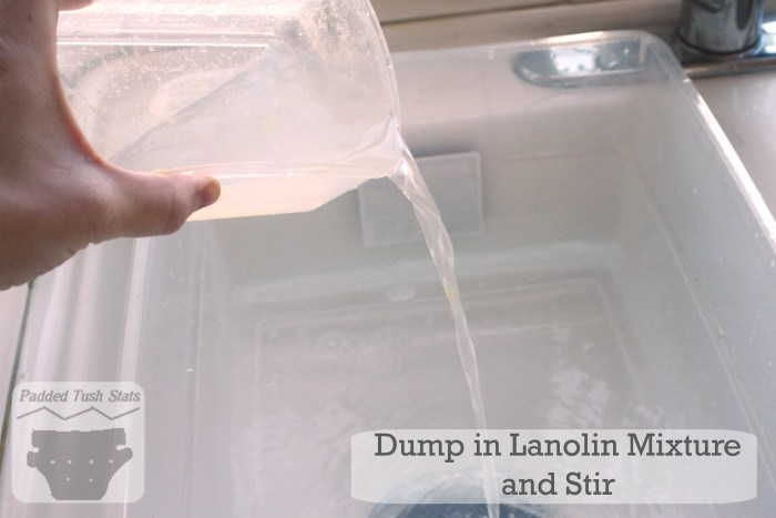 Washing wool cloth diapers tutorial - Dump in lanolin mixture and stir