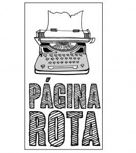 Lotipo de Página Rota con el nombre de la web bajo una máquina de escribir antigua con un folio resquebrajado.