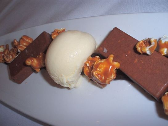 Milk ChocolatePeant Butter Croquant with Buttered Popcorn Ice Cream