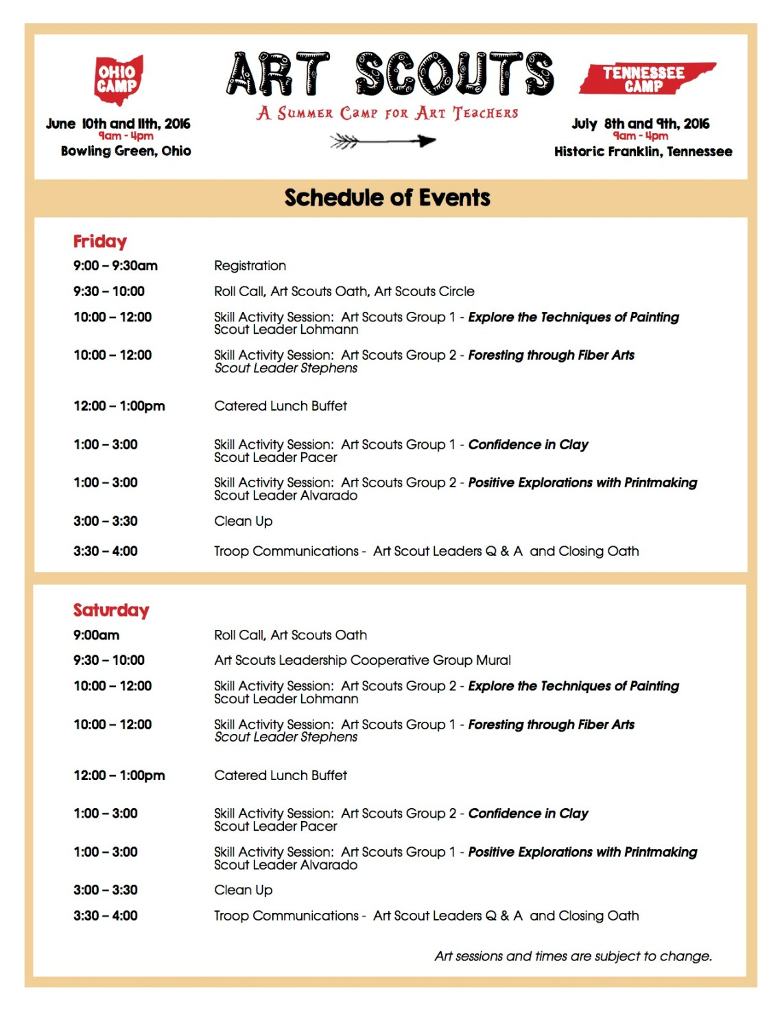 Art Scouts 2016 Schedule of Events copy