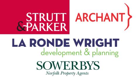 Sponsors of Paint Out Norwich 2016 - Strutt & Parker, La Ronde Wright, Sowerbys, Archant