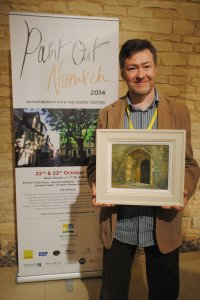 Roy Connelly (3rd Prize) with his painting - The Dark Entry