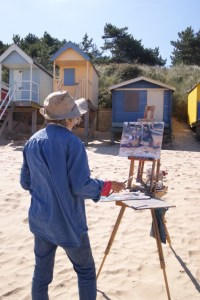 Artist Jane Hodgson at Paint Out Wells, Beach, Norfolk
