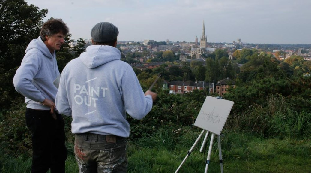 Artists Brian Korteling and James Colman on Mousehold Heath for Paint Out Norwich ©Mark Ivan Benfield