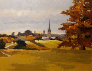 Artist Mo Teeuw - View of Norwich from Mousehold Heath 14x18 Oil on Canvas at Paint Out Norwich 2015 photo by Mark Ivan Benfield