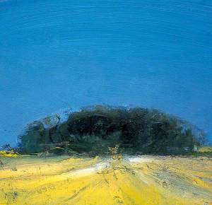 Colin Self, Large Harvest Field with two Hay Bales at Happisburgh, Norfolk, 1984 Oil (with some straw in paint)