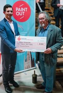 Artist Michael Richardson winning the Mills & Reeve Nocturne Prize at paint Out Norwich 2015 ©Matt Dartford