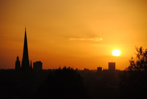 Autumn Sunset over Norwich Cathedrals from Mousehold Heath