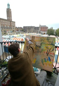 Artist Tom Lamprell painting from the Sir Garnet by Norwich Market at Paint Out Norwich 2015