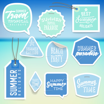 Summer holiday vacation stickers and labels design. Vector eps10.